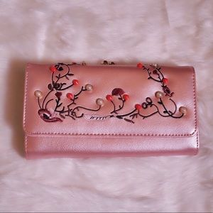 Handbags - Pink/ Rose Gold Embroidered Pearl Wallet